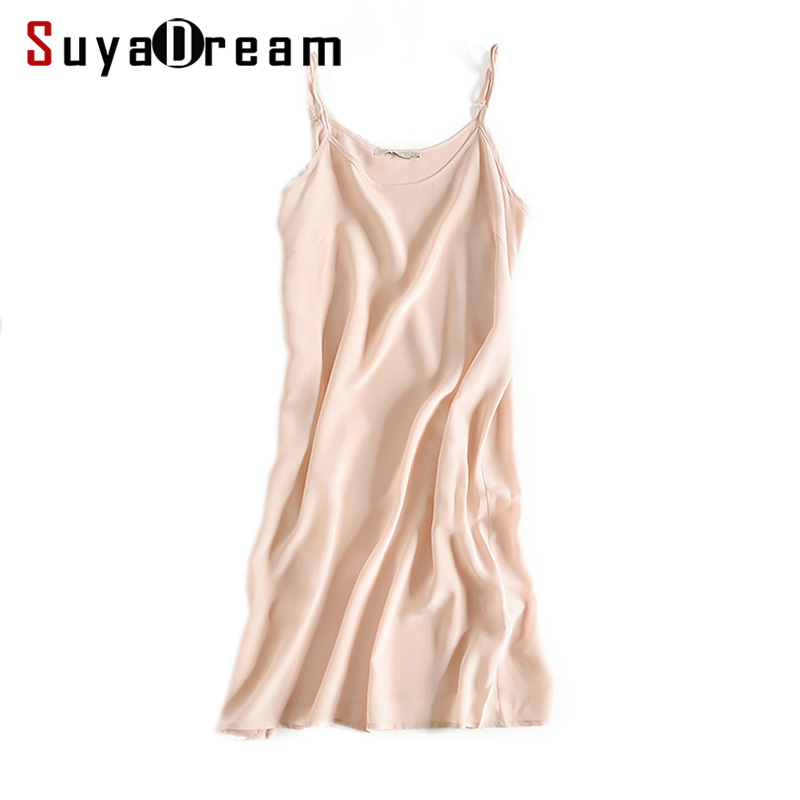 Γυναίκες Silk Sleepdress 16mm100% Real Silk Nightgowns Comfortable SILK Nightdress nightie Ροζ λευκό μαύρο 2019 Άνοιξη