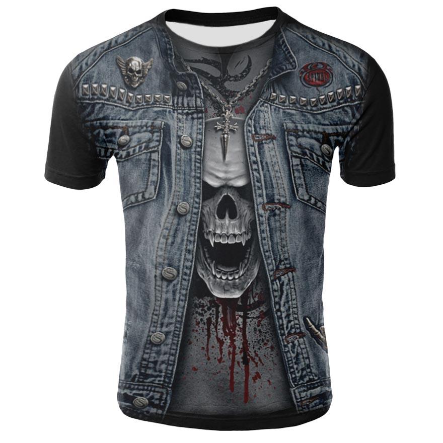 The New Summer men's t-shirts polyester skull 3D Printed T shirt for men interesting Round neck short sleeve