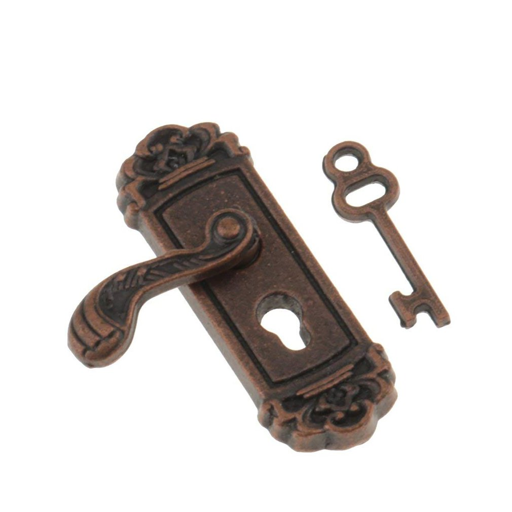 1:12 Dollhouse Miniature Hardware Vintage Metal Door Knob Lock and Key Left1:12 Dollhouse Miniature Hardware Vintage Metal Door Knob Lock and Key Left