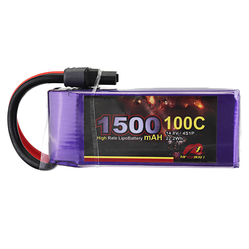 High Power MY Red Beret 14.8V <font><b>1500mAh</b></font> <font><b>100C</b></font> <font><b>4S</b></font> <font><b>Lipo</b></font> Battery XT60 Plug RC Battery For Eachine Tyro99 FPV Racer RC Drone Accs image