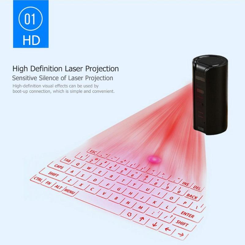 Clavier de Projection Laser sans fil Bluetooth virtuel Rechargeable QWERTY clavier Laser clavier pour smartphone tablette PC