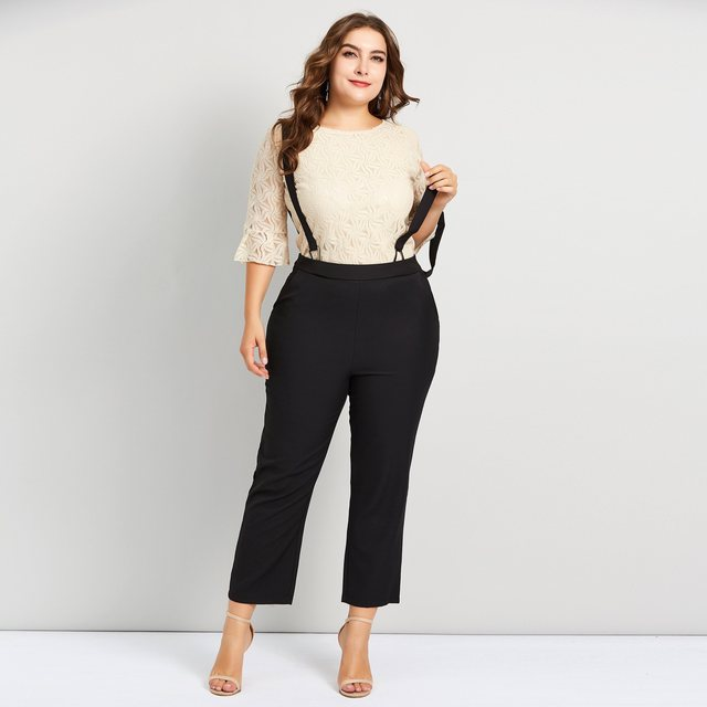 a4f789ab4c3a Plusee Women Sets Plus Size Two Piece Hollow Flare Sleeve T Shirt Black Casual  Pants Suspenders