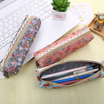 2Pieces New Forest Wind Elegant Beautiful Women Wave Flower Pencil Bag Canvas School Stationary Receive Case