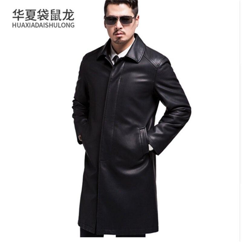 Nouveau Style hommes manteaux en cuir véritable longue section veste en peau de mouton et manteau mâle en cuir manteau Style d'hiver, veste en cuir loog - 3