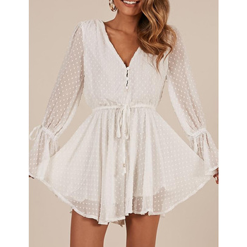 Women Chiffon Jumpsuit V Neck Long Sleeves Bell Cuff Button Dot Summer Casual Playsuit Rompers Fashion Elegant Ladies Party Wear 2