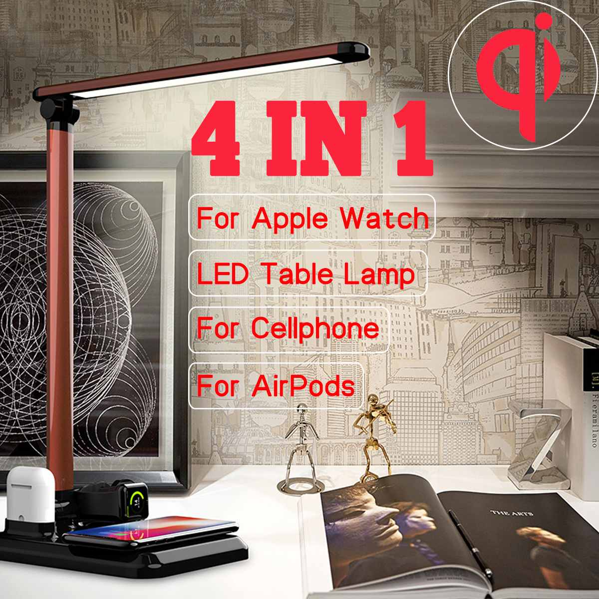 Multifunction LED Desk Lamp Book Light QI Wireless Charging for iphone for iwatch for Airpods Dimmable Table Desktop Light Lamp