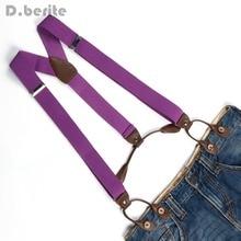 Suspender Purple Braces Button-Holes Fitting Solid Unisex BD702 Six Adjustable New