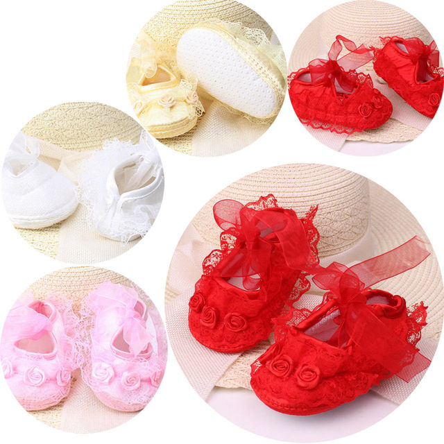 2019 Spring New Cute Baby Girls Newborn Infant Baby Toddler Lace Frilly Flower Non-Slip Shoes