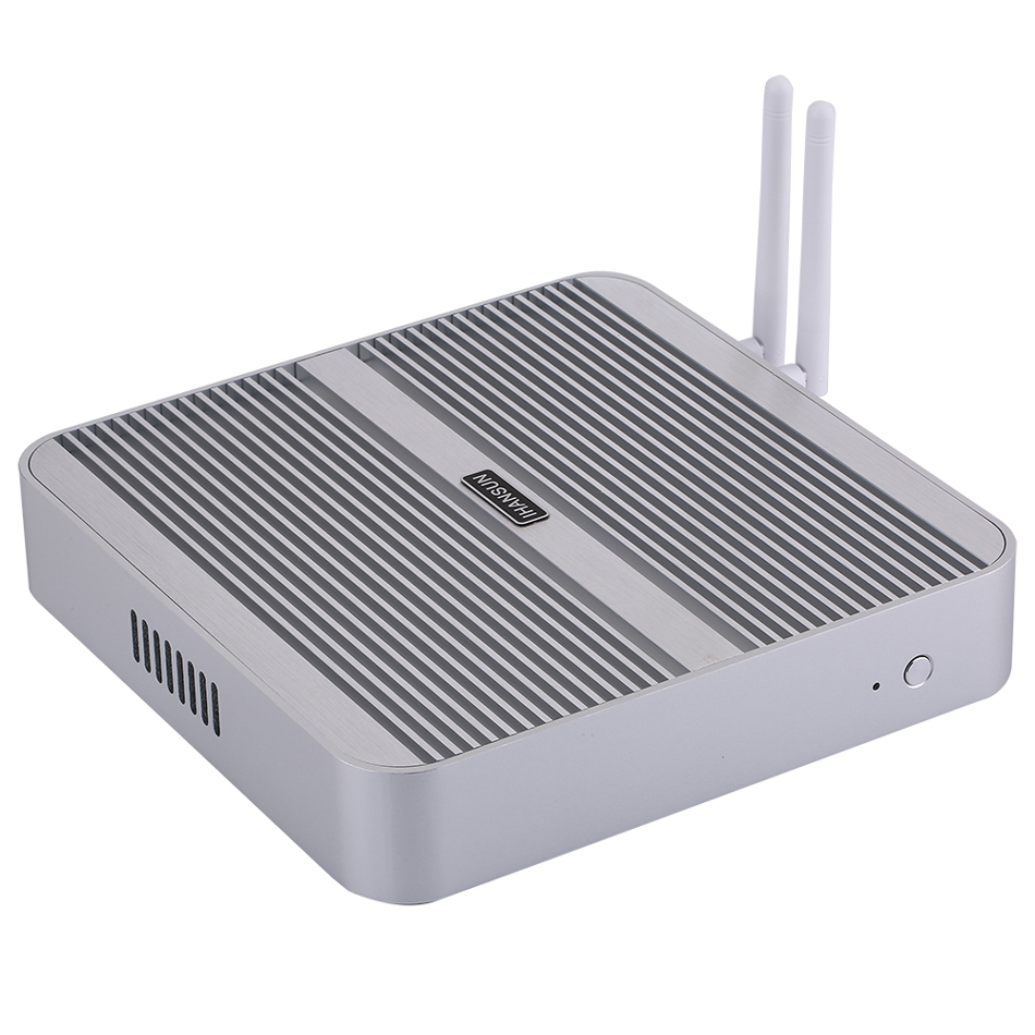 Fanless Mini PC,Intel Core I5 5200U,Windows 10/Ubuntu,Silver,[HUNSN BM01L],(WiFi/1HD/1VGA/4USB3.0/2USB2.0/1LAN)