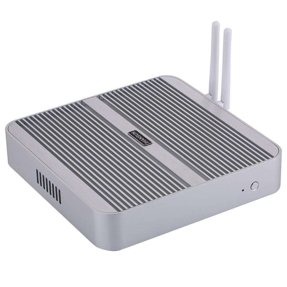 Fanless Mini PC,Intel Core I5 5200U,Windows 10/Ubuntu,Silver,[HUNSN BM01L],(WiFi/1HD/1VGA/4USB3.0/2USB2.0/1LAN)