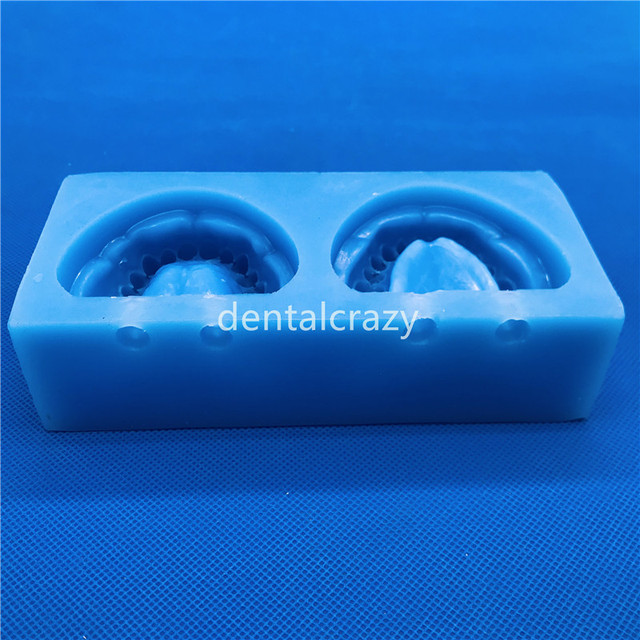 2019 de alta calidad 1 set de silicona azul yeso Dental modelo molde de maxilares edéntulos completa cavidad bloque con agujero