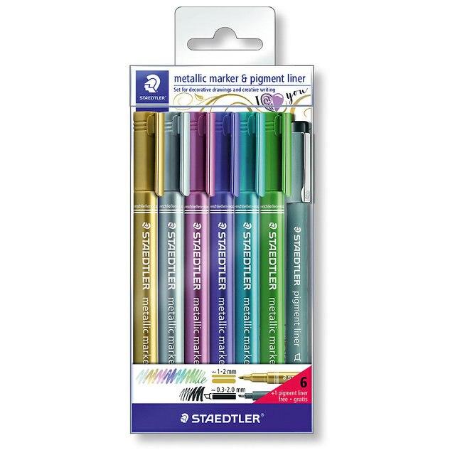 Набор маркеров Staedtler «Metallic», 6 цветов + ручка