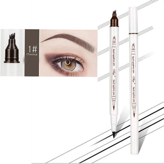Maquillaje lápiz de cejas + delineador de ojos impermeable Punta de horquilla ceja tatuaje pluma 4 cabeza fino boceto líquido ceja potenciador tinte pluma