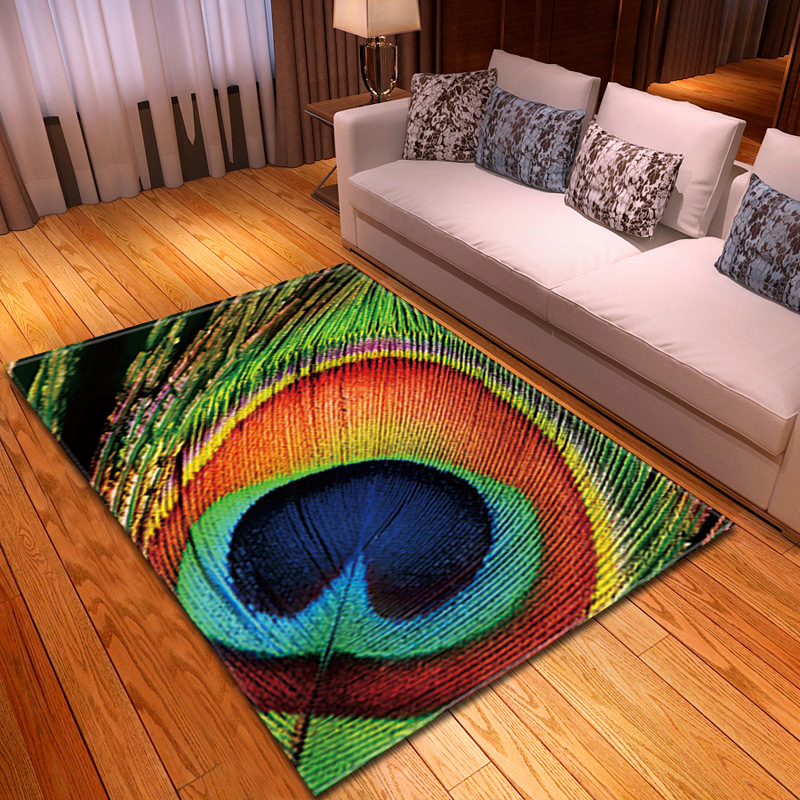 Peacock feather printed Carpets for Living Room Bedroom Area Rugs Kids Room Game Antiskid Mat Coffee Desk Rectangle Soft Carpet