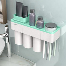 ECOCO Wall-mounted Toothbrush Holder Bathroom Storage Rack Multi-functional Bathroom Organizer With Phone Holder Two/Three Cups(China)