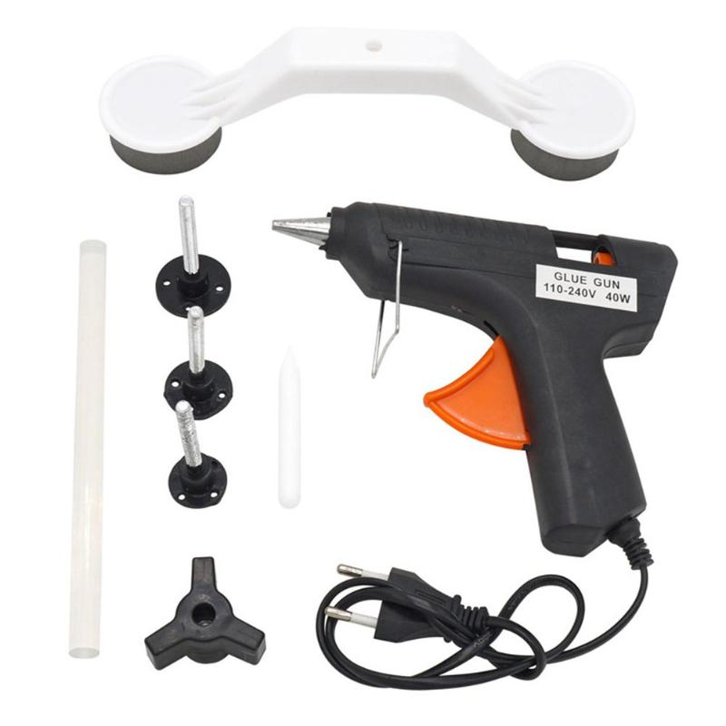 Car Body Paintless Dent Repair Tool Kit Puller + Pulling Tabs + Glue Gun Automobiles Hail Damage Removal Hand Tools