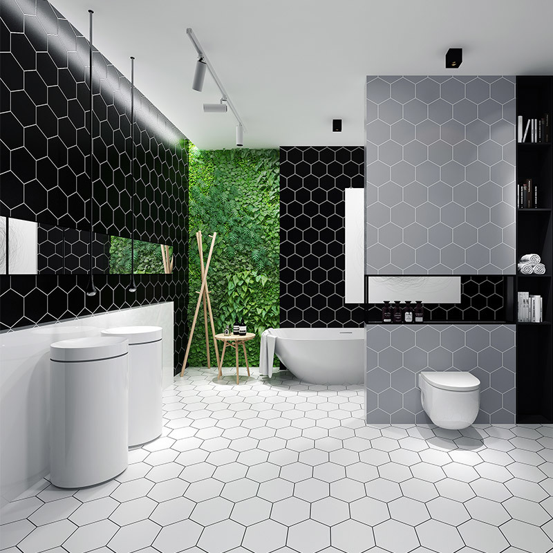Thicken Modern Simply Black Hexagon