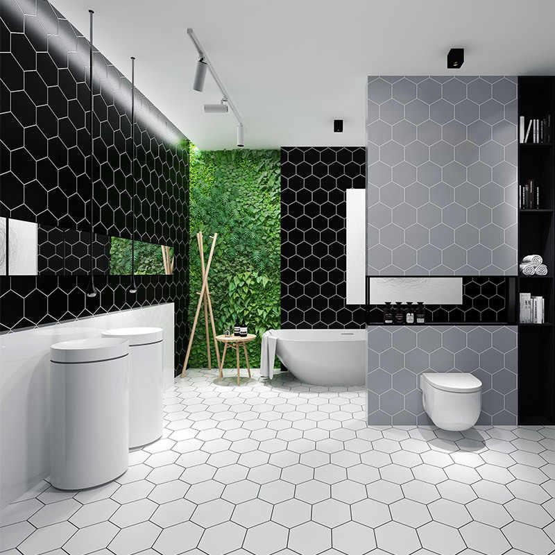 thicken modern simply black hexagon waterproof self adhesive tile wallpaper fashion bathroom kitchen pvc lattice wall sticker