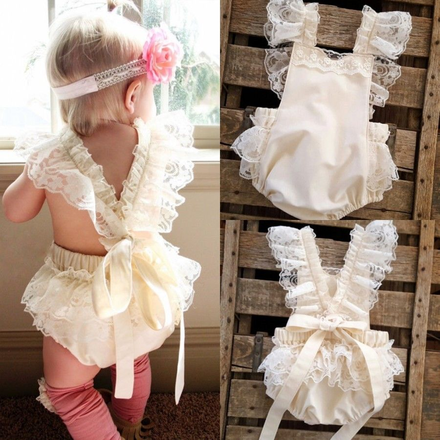 Toddler White Lace Rompers Infant Baby Girls Ruffle ...