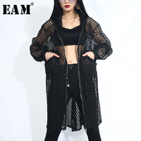 [EAM] 2019 New Spring Summer Hooded Long Sleeve Black Grid Personlaity Loose Big Size Jacket Women Coat Fashion Tide QD36