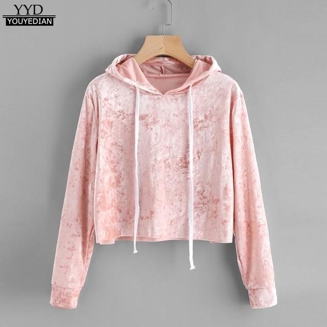 Hoodies Women Autumn Sweatshirt Pink Velvet Long Sleeve Cropped Hoodie Sweatshirts Jumper Pullover Tops sudaderas de mujer