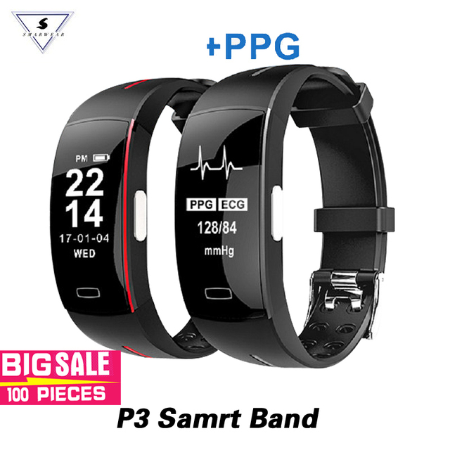 100% Original P3 Smart Bracelet ECG+PPG Blood Pressure Heart Rate Monitor Pedometer Sports Band For IOS Android Pk Miband 3