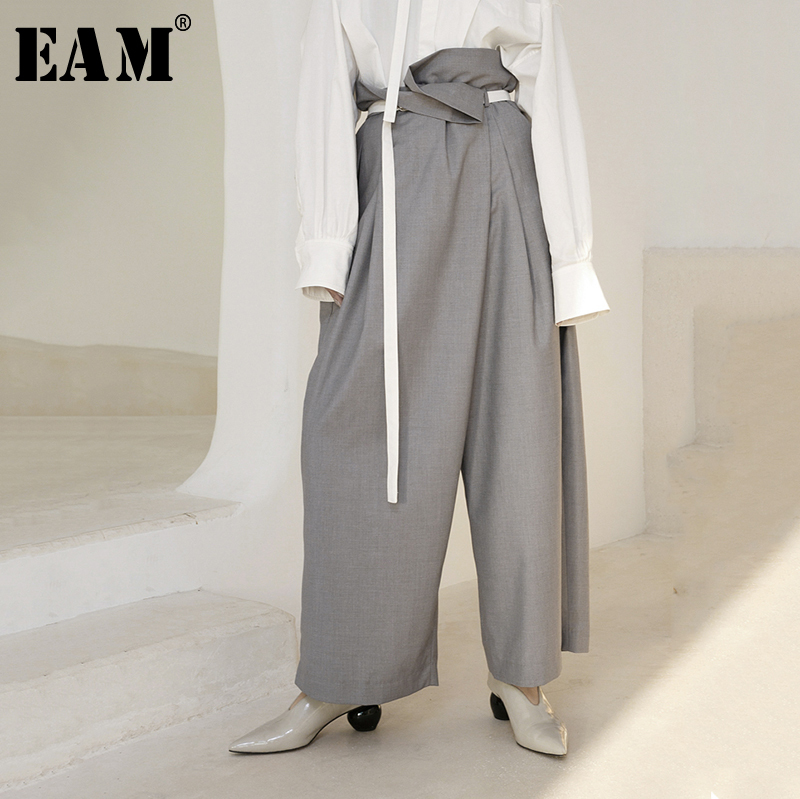 [EAM] 2019 New Spring Summer High Waist Black Bandage Brief Loose Pleated Long   Wide     Leg     Pants   Women Trousers Fashion Tide JR442