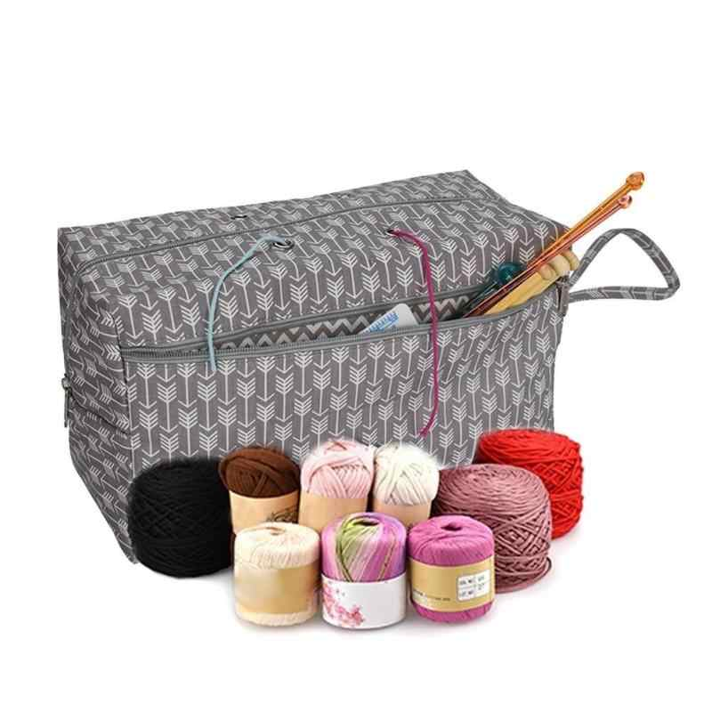 5e3cb99883 2 Sizes Portable Yarn Storage Bag Organizer with Divider for Crocheting  Knitting Organization Yarn Holder Tote
