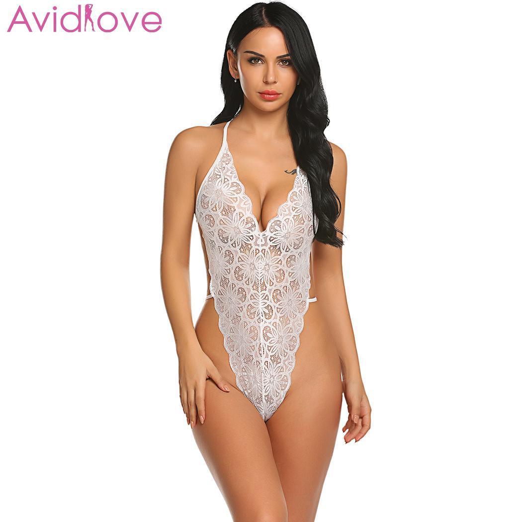 Women Lingerie Halter V Neck Lace Floral Backless Bodysuit Nightwear Sleepwear