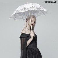 Lolita Club Cosplay Mesh lace Accessory Umbrella Gothic popular Personality Black White Clothing Women Umbrella PUNK RAVE S 083