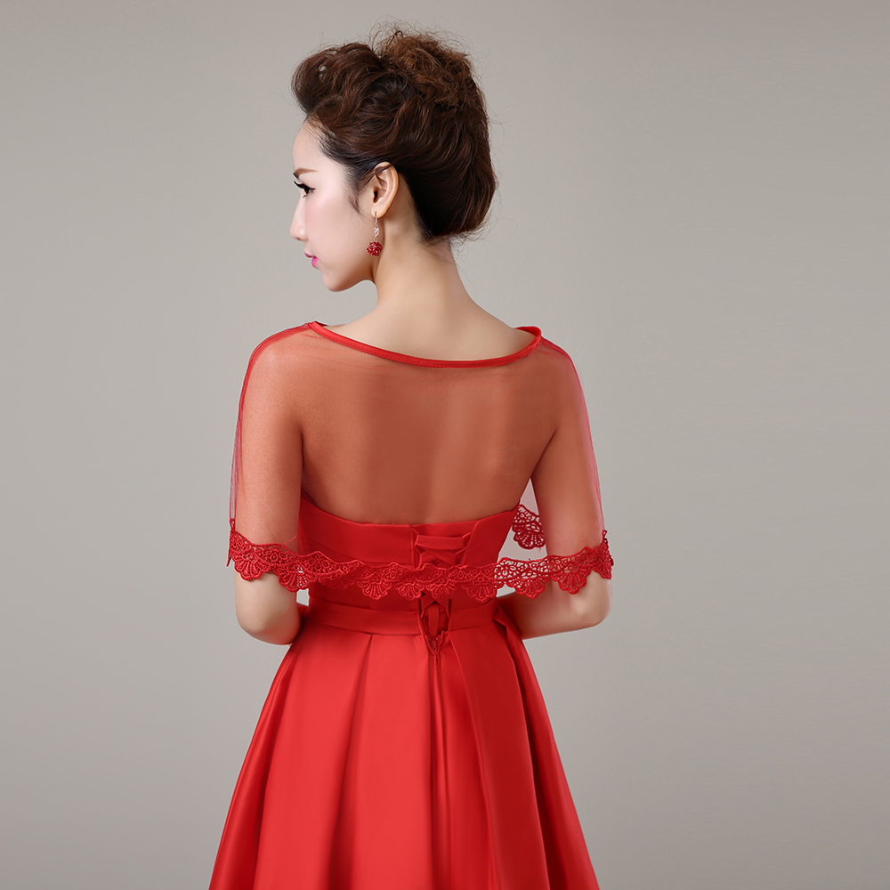 Women Evening Dress Cover Up Wrap Red Applique Edge Short Cape Tulle Sheer Summer Shawl For: Red Bridal Wedding Dress Cover Ups At Websimilar.org