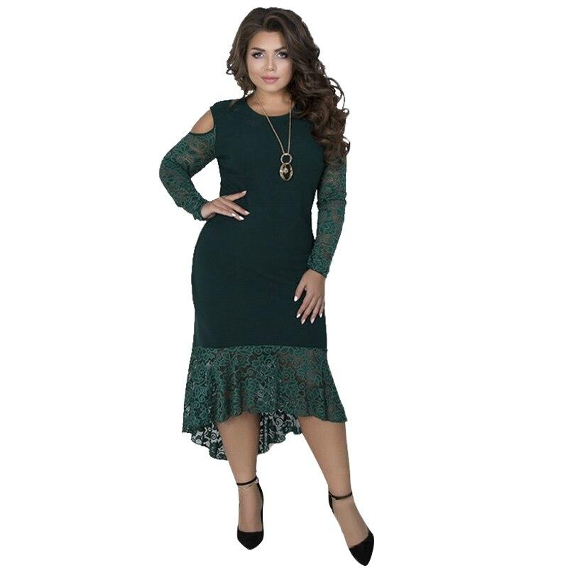 Lace Dress Party Bodycon Bandage Dress 5XL 6XL Plus Size Women Winter  Dresses Long Sleeve Maxi Long Dress Vestidos