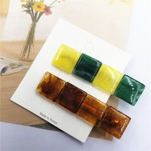 Fashion 2PCS/Set Resin Square Women Hair Clips Barrettes Girls Hairpins Accessories Geometric Vintage Popular