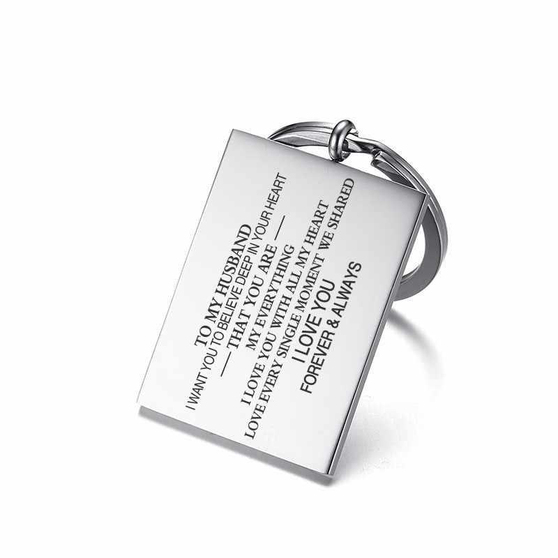 Vnox נירוסטה Mens מפתח שרשרת חריטה אישית האיש שלי אני רוצה כל שלי נמשך כדי להיות איתך הבטחת אהבת מתנות לבעל