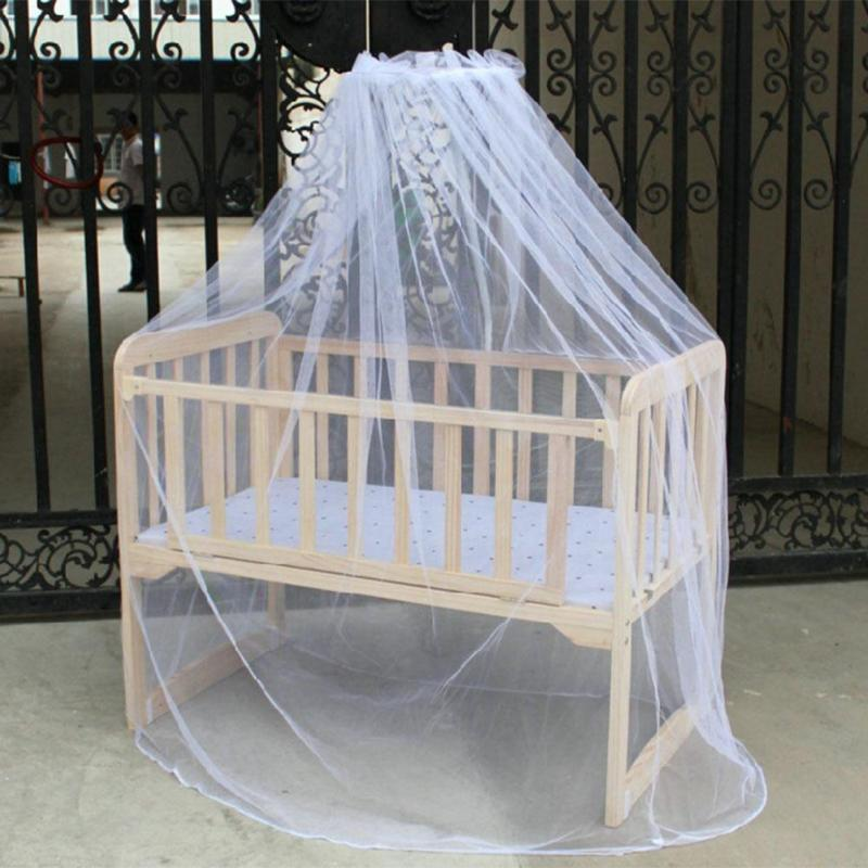 Kids Bed Curtain Hung Round Dome Mosquito Net Solid Hanging Net Infant Baby Stroller Crib Bed Floor Type Insects Netting
