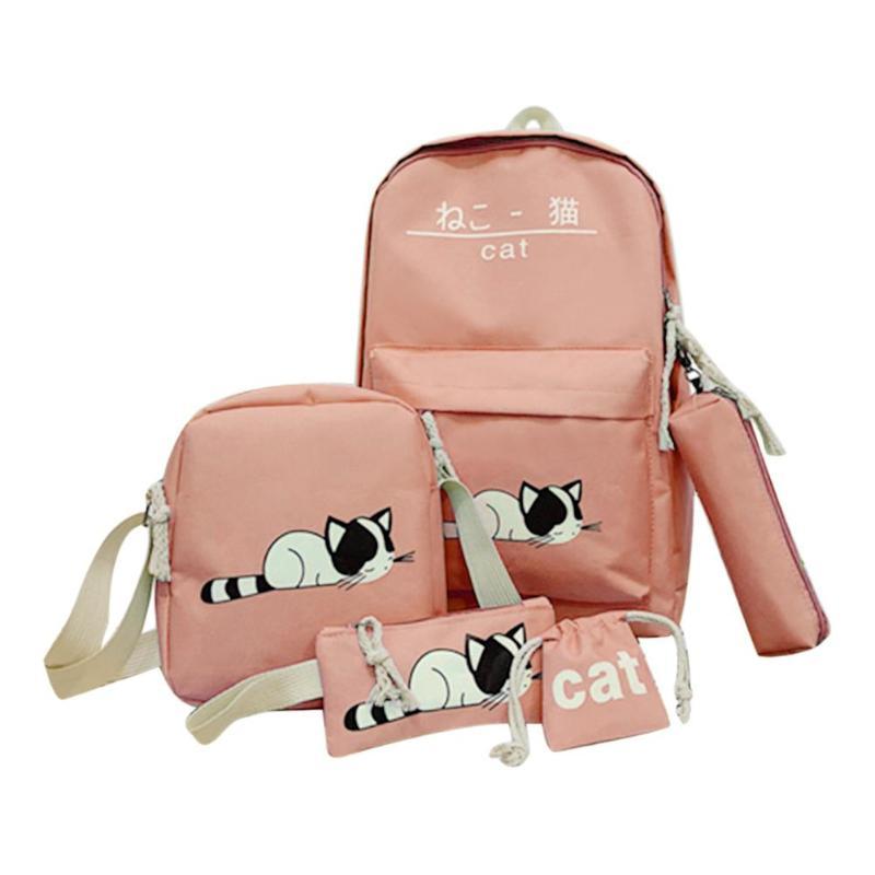 5pcs/set Cute Cat Canvas Backpacks For Women Fashion School Bags Student Travel Backpack Shoulder Bag Mochila Bolsas Feminina