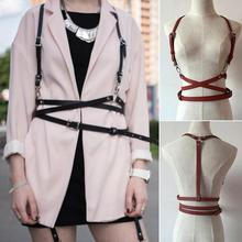 Fashion Punk Harajuku O-Ring Garters Faux Leather Body Bondage Cage Sculpting Harness Waist