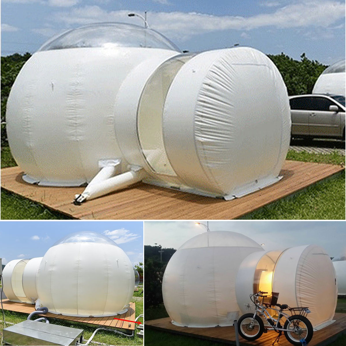 SGODDE 3 M Inflatable Eco Home Tent DIY House Luxury Dome Camping Cabin Lodge Air Bubble Advertisign Inflatable Show House