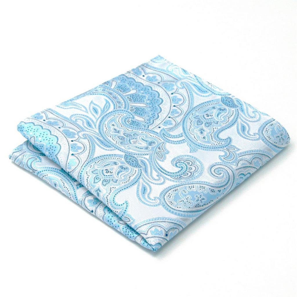 AH38 Azure Paisley Mens Pocket Square Silk Wedding Fashion Novelty Classic Unique Hanky 12.6