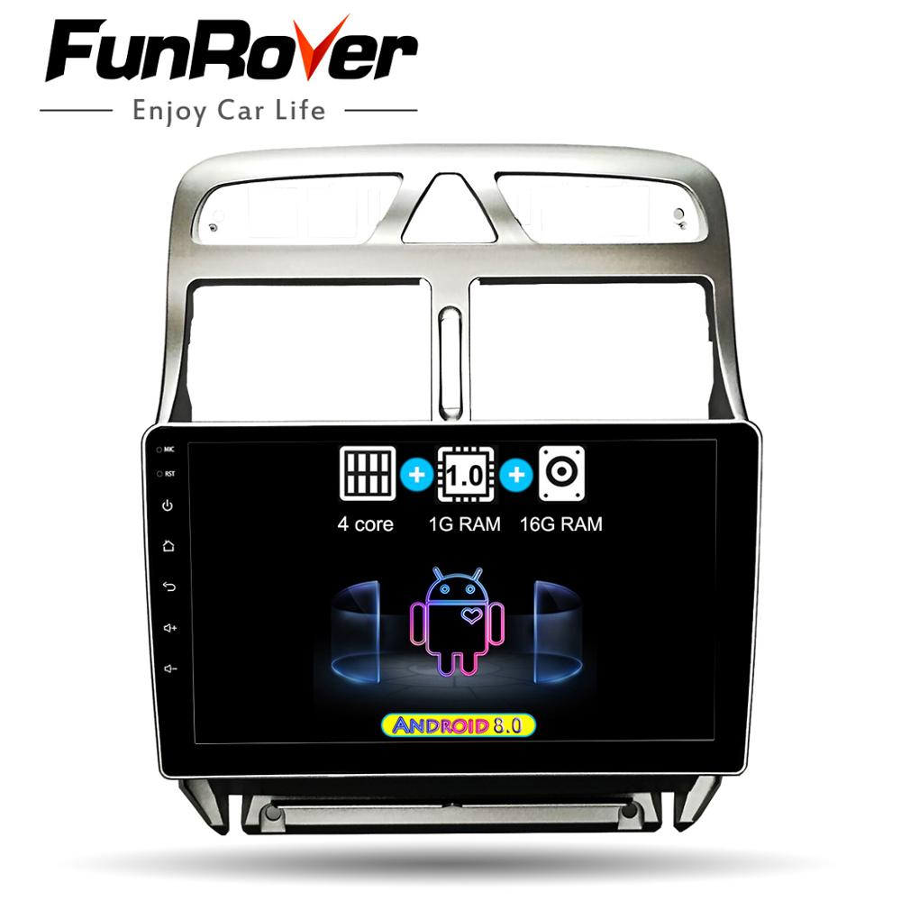 FUNROVER 2 din Android 8.0 Car DVD Multimedia Player For peugeot 307 2002 2013 radio GPS Navigation wifi 4G RDS FM bluetooth usb