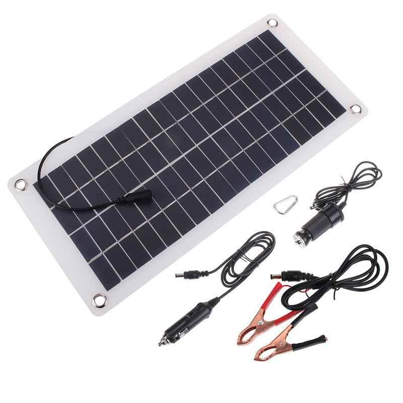 25 W 12 v/5 v لوحة طاقة شمسية USB قوة البنك مجلس بطارية خارجية شحن الخلايا الشمسية + التمساح كليب + ولاعة السجائر + شاحن سيارة