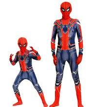 Spiderman Cosplay Costume Kids Men Iron Avengers Infinity War Zentai Lycra Bodysuit Jumpsuit Adult