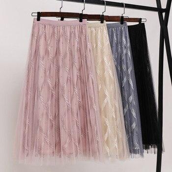 b0b2effaa66 Product Offer. Плюс Размеры M-4XL женские тюлевые юбки с бусинами и сеткой  кружевные юбки Высокая Талия плиссированная юбка-пачка ...