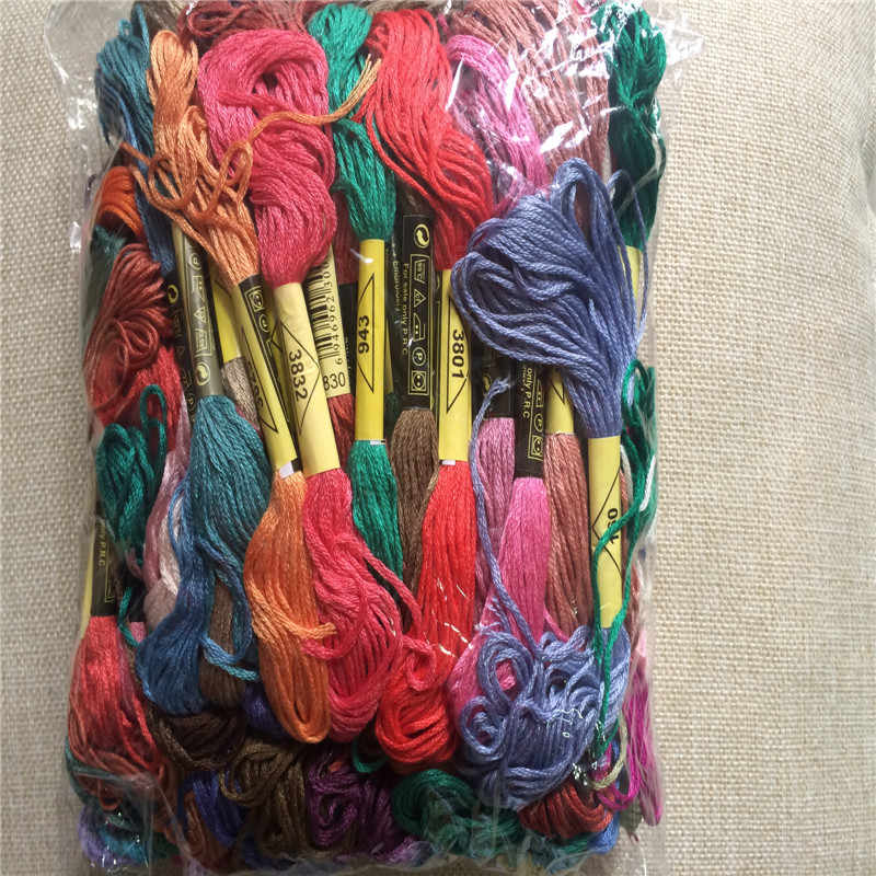 1 Bag 100skein/Bag Randomly Color Cross Stitch Thread 100% Cotton Embroidery Thread Floss Sewing Skeins Craft Embroidery