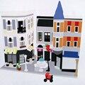 Neue 15019 Creator Serie Die Montage Platz Modell Bausteine Kompatibel 10255 Klassische Haus Architektur Spielzeug Für