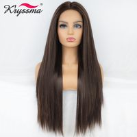 Kryssma Brown Synthetic Lace Front Wig Synthetic Wigs For Black Women Long Brown Lace Front Wig Middle Part Heat Resistant Fiber