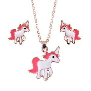 Unicorn Necklace Earring Suit