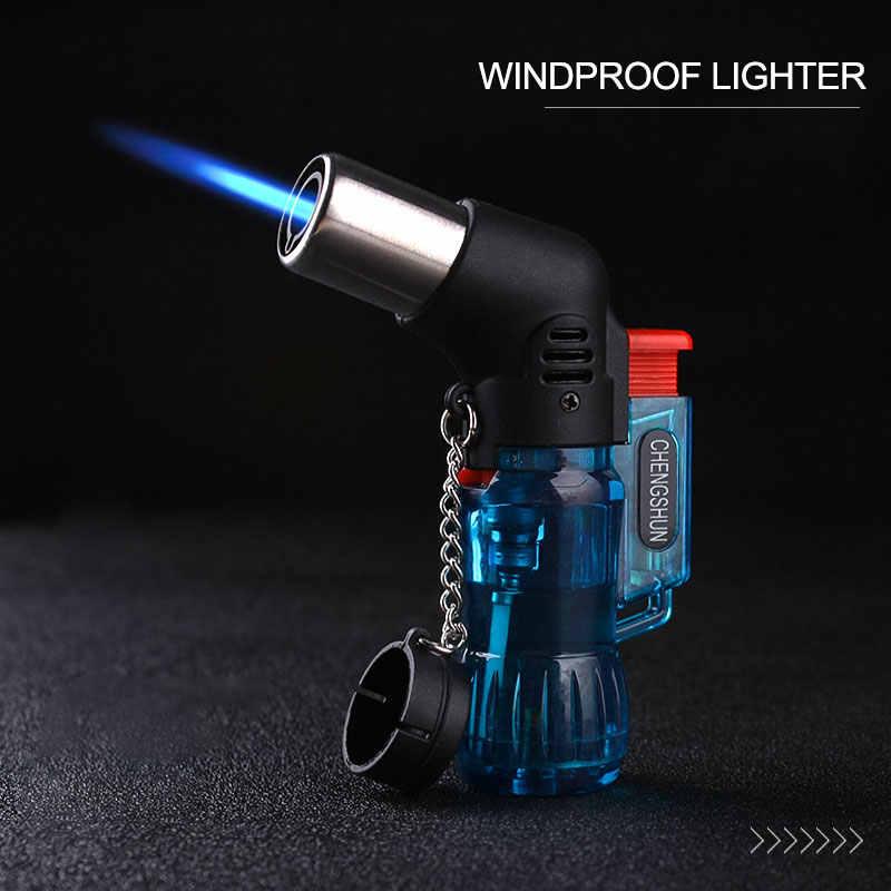 2019 mini butano jet torch cigarro à prova de vento mais leve cor aleatória queimador de ignição de fogo plástico nenhum gás a