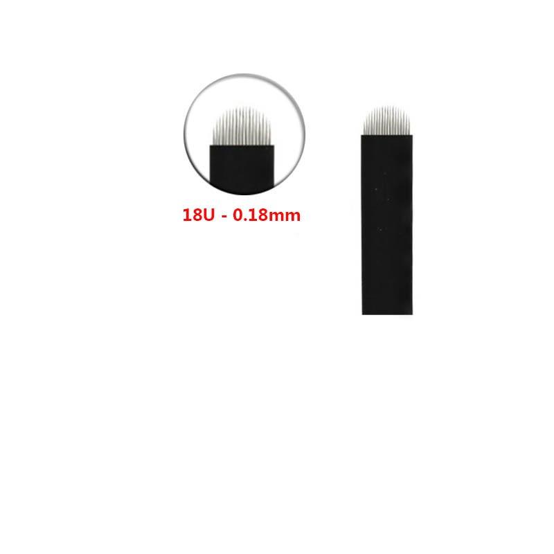 500pcs Black Lamina Microblading Needles 0 18mm U Shape 18 pins Blades Tattoo Needles For Permanent