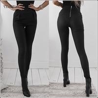 Casual Women High Waist Skinny Pencil Pants Black Slim Back Zipper Jeggings Leggings Trouser Faux Leather Solid Color Streetwear